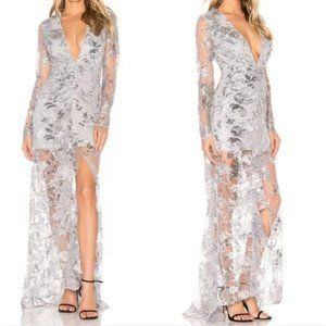 X by NBD Silver Sequin & Lace Ice Melts Dress